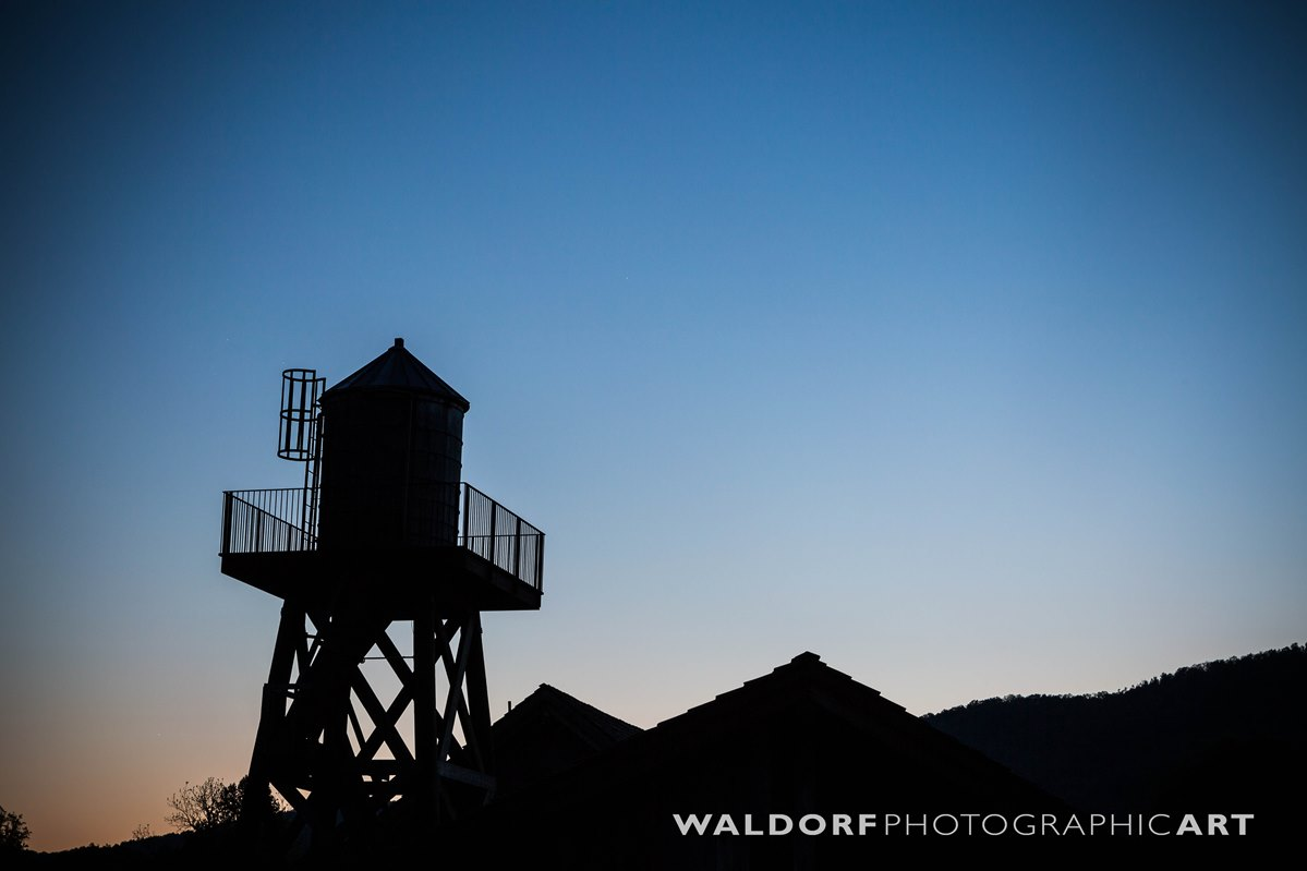 Silhouette of the water tower at dusk at Pure Water Farm near Maryville.