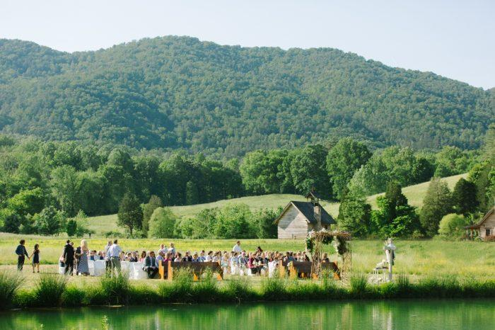 Wedding Ceremony by the pond at Pure Water Farm