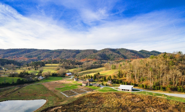 Aerial View of Pure Water Farm Wedding Venue East Tennessee