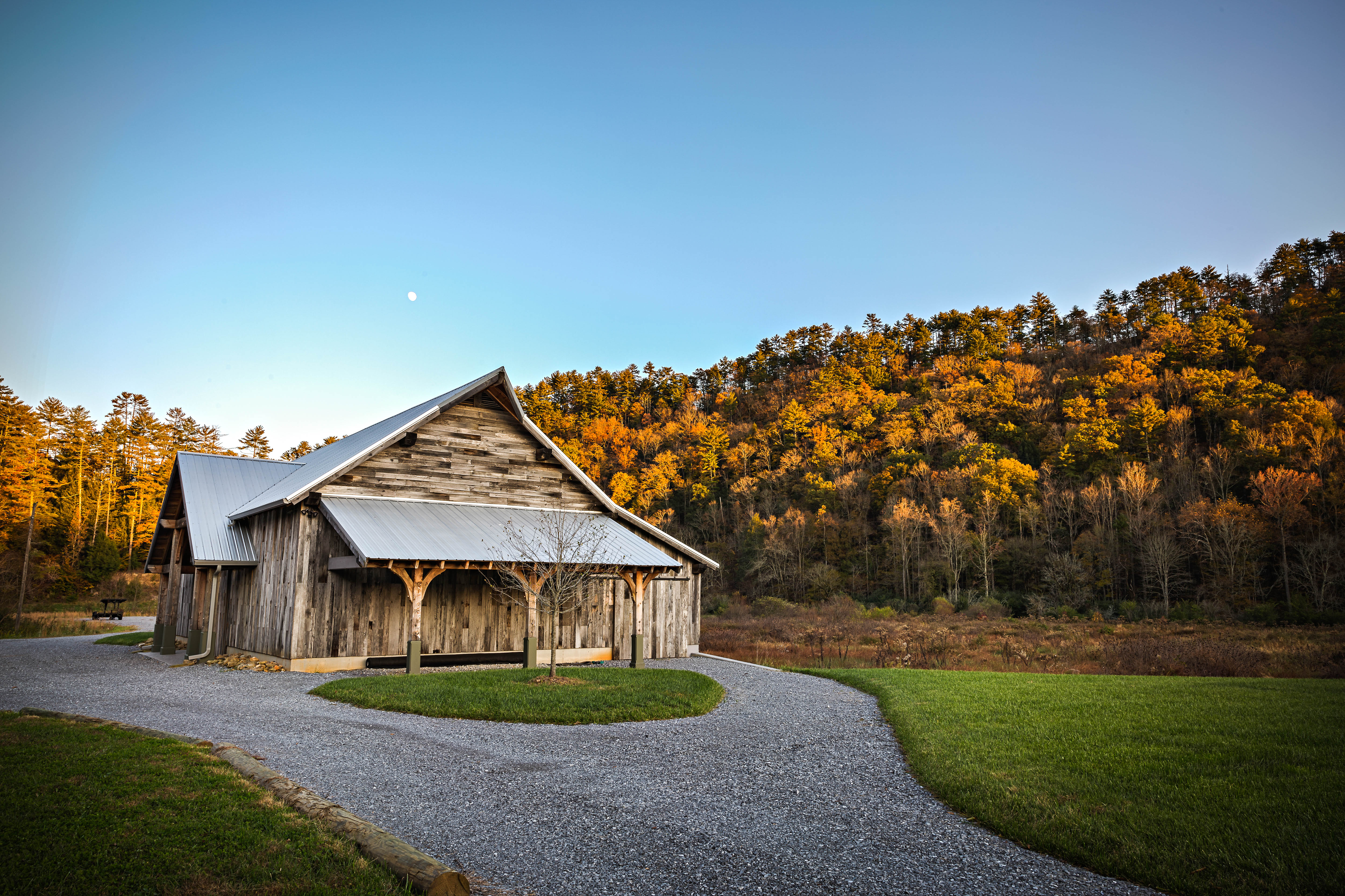 Moon over Wedding Venue Barn East Tennessee Smoky Mountains