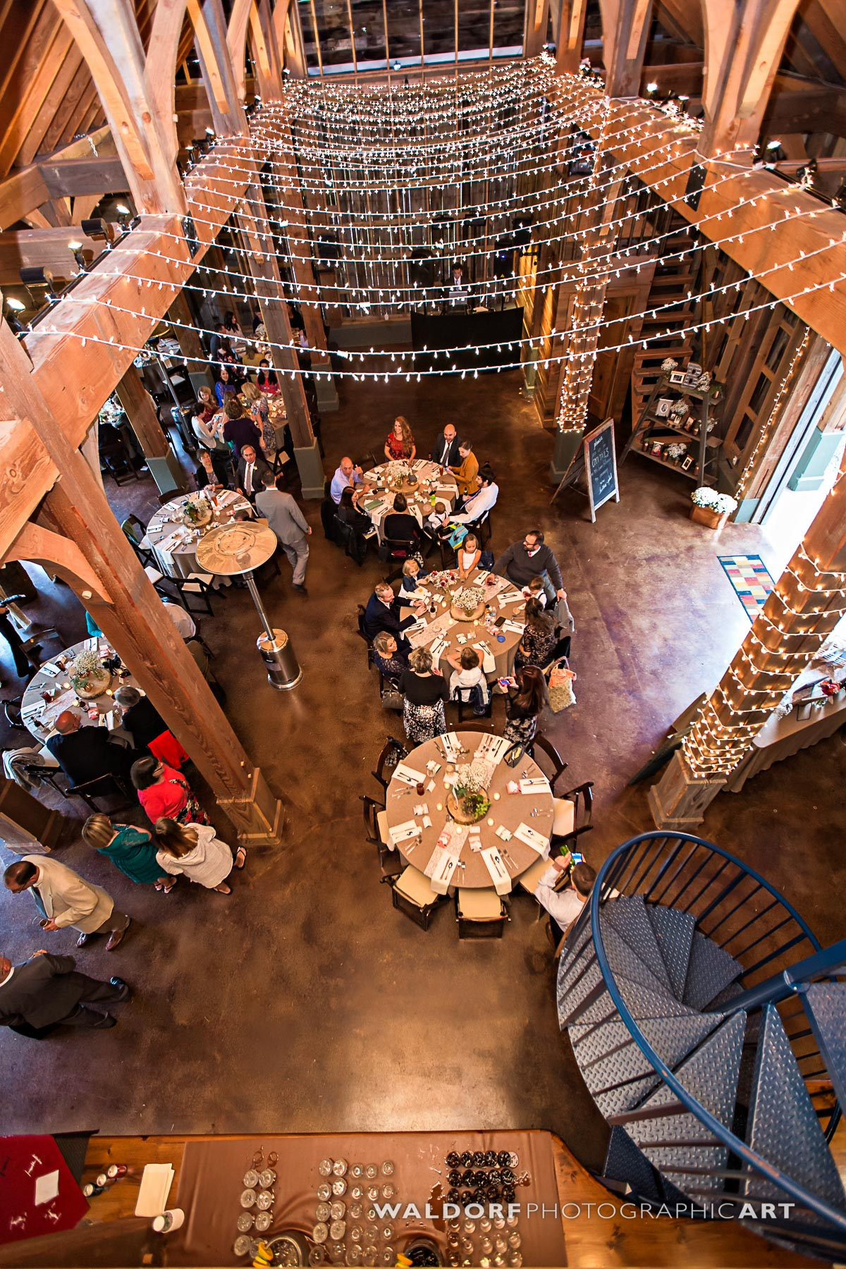 The reception area in the barn from above at Pure Water Farm barn wedding near Gatlinburg.