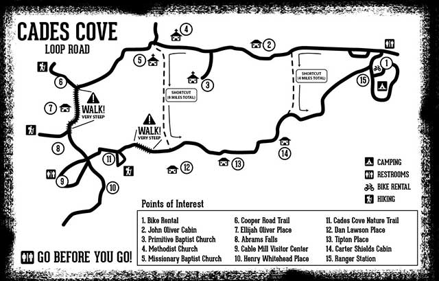 Cades Cove Bike Map